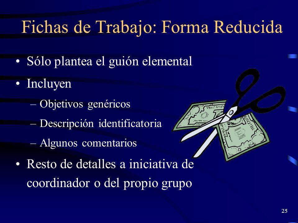 24 Ficha forma estructurada (II): (Marín, 1997) Descripción Tamaño del grupo Tiempo de aplicación Documentación material madurez del grupo Realización