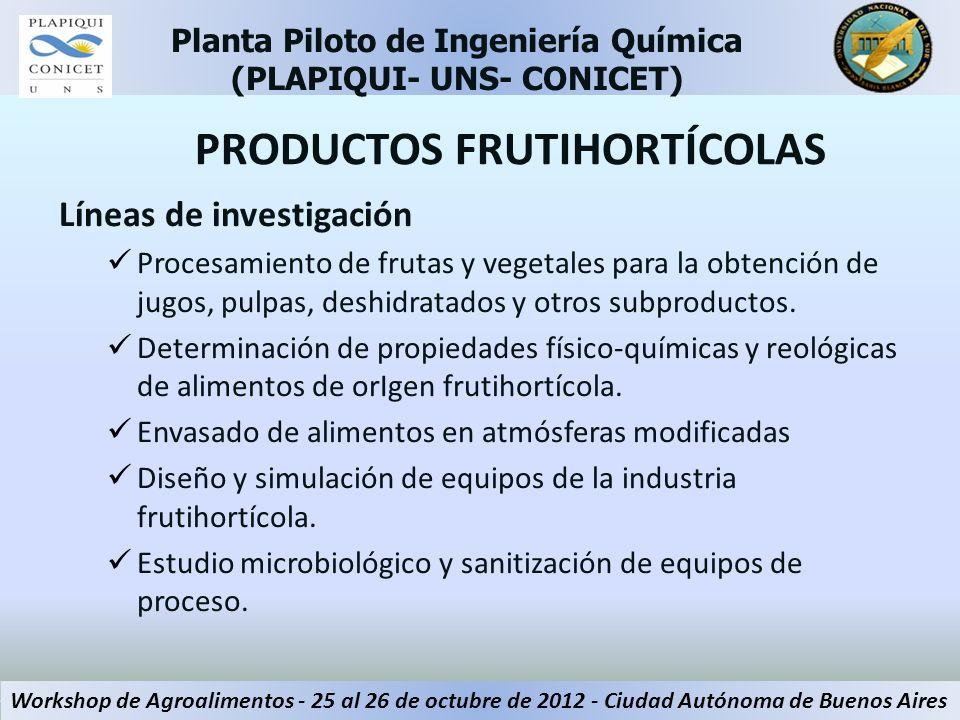 PRODUCTOS FRUTIHORTÍCOLAS Líneas de investigación Procesamiento de frutas y vegetales para la obtención de jugos, pulpas, deshidratados y otros subpro