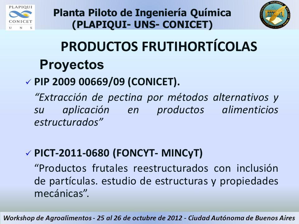 Proyectos PIP 2009 00669/09 (CONICET). Extracción de pectina por métodos alternativos y su aplicación en productos alimenticios estructurados PICT-201