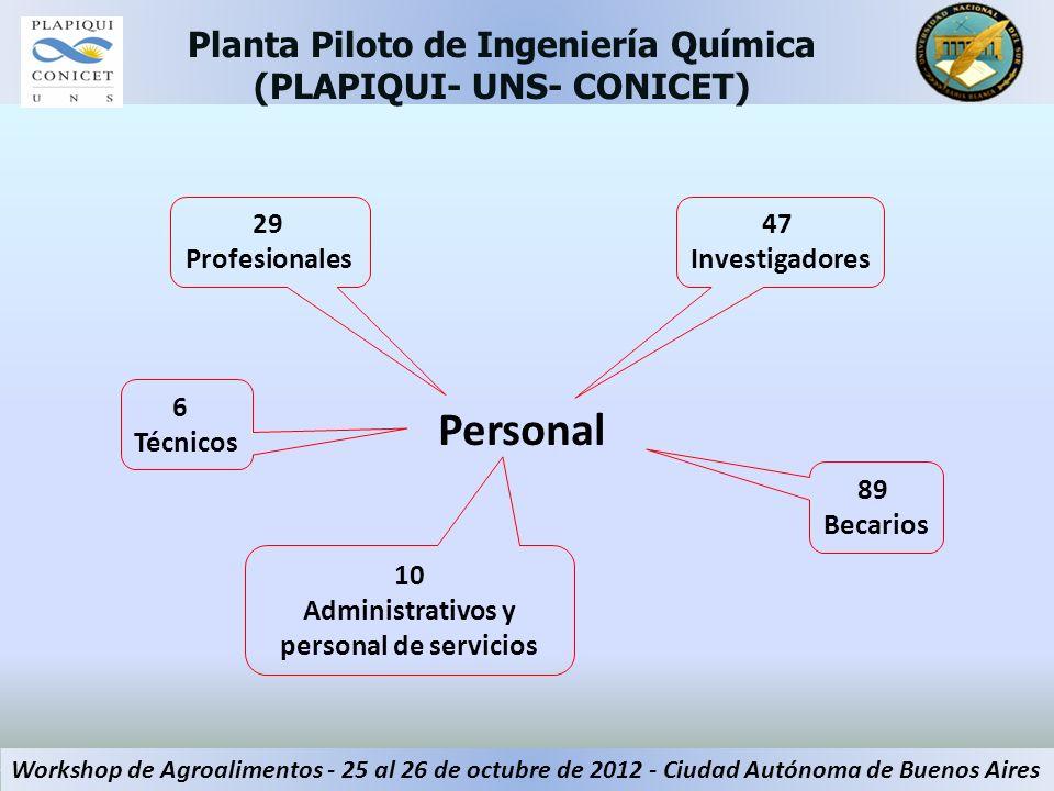 Personal Planta Piloto de Ingeniería Química (PLAPIQUI- UNS- CONICET) Workshop de Agroalimentos - 25 al 26 de octubre de 2012 - Ciudad Autónoma de Bue