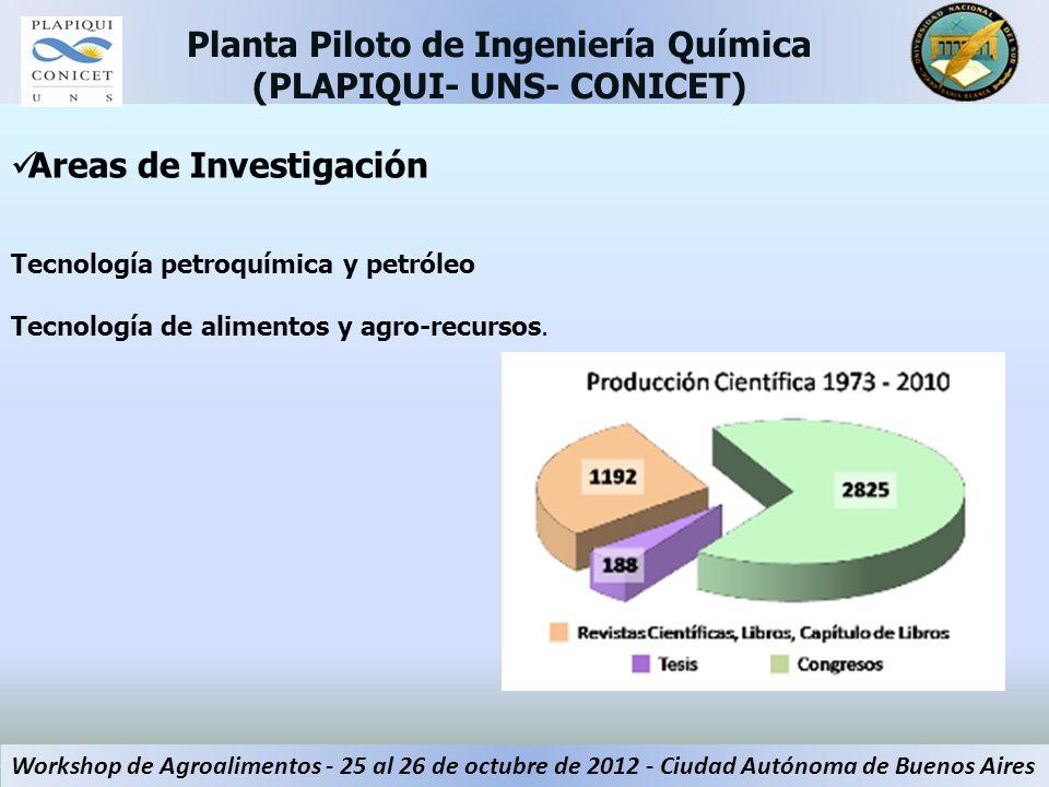 Areas de Investigación Tecnología petroquímica y petróleo Tecnología de alimentos y agro-recursos. Planta Piloto de Ingeniería Química (PLAPIQUI- UNS-