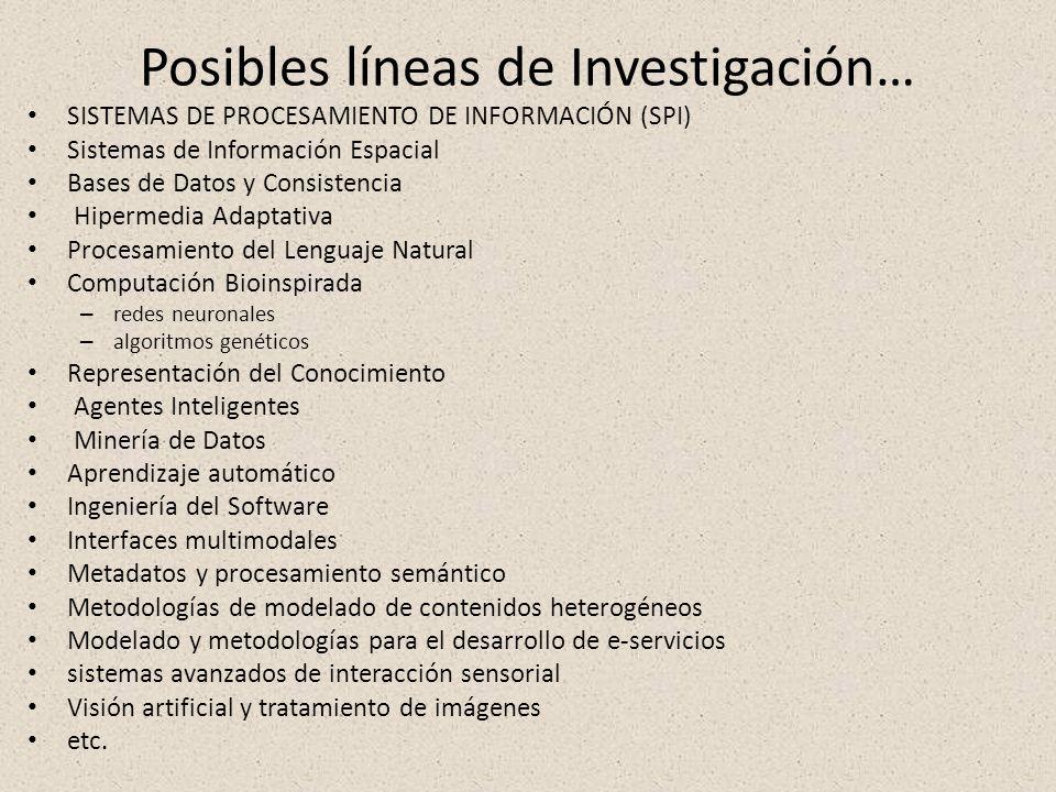 Posibles líneas de Investigación… SISTEMAS DE PROCESAMIENTO DE INFORMACIÓN (SPI) Sistemas de Información Espacial Bases de Datos y Consistencia Hiperm