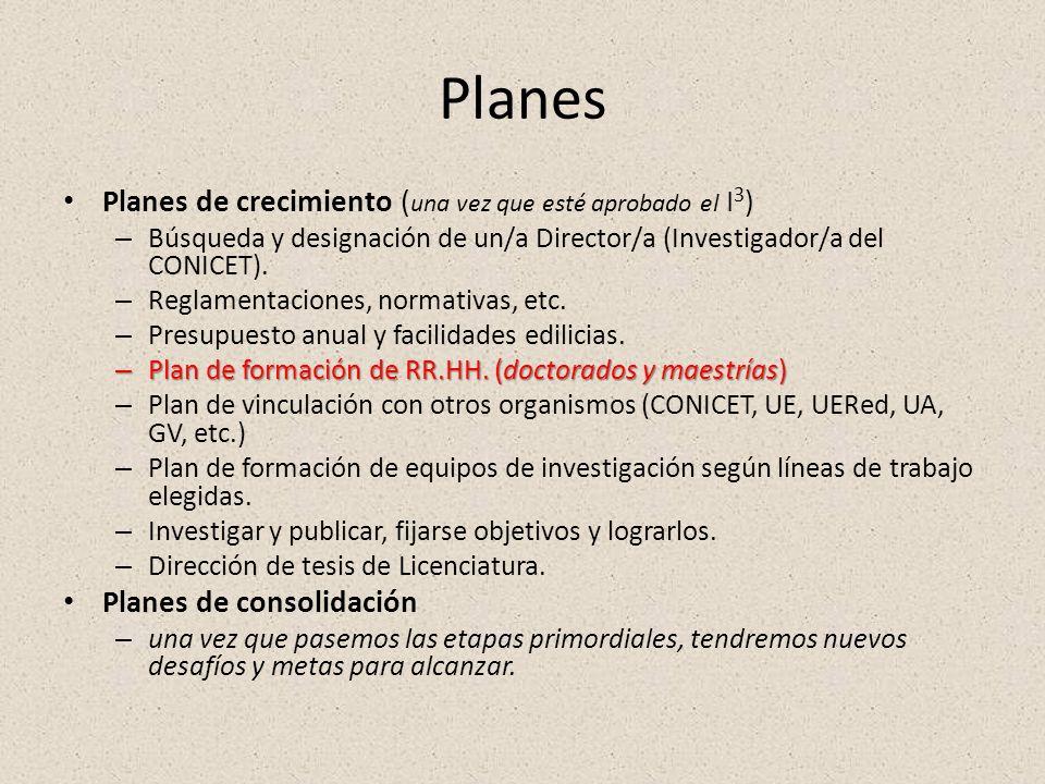 Planes Planes de crecimiento ( una vez que esté aprobado el I 3 ) – Búsqueda y designación de un/a Director/a (Investigador/a del CONICET). – Reglamen