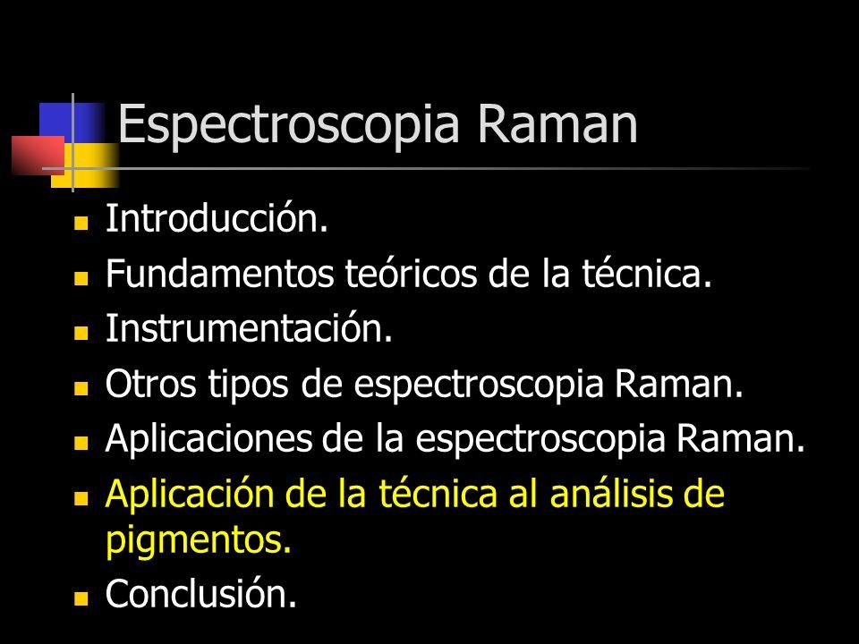 Espectroscopia Raman Introducción. Fundamentos teóricos de la técnica. Instrumentación. Otros tipos de espectroscopia Raman. Aplicaciones de la espect