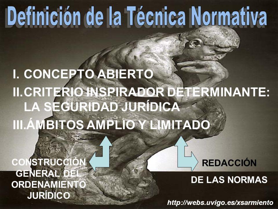 I.CONCEPTO ABIERTO II.CRITERIO INSPIRADOR DETERMINANTE: LA SEGURIDAD JURÍDICA III.ÁMBITOS AMPLIO Y LIMITADO http://webs.uvigo.es/xsarmiento/ CONSTRUCCIÓN GENERAL DEL ORDENAMIENTO JURÍDICO REDACCIÓN DE LAS NORMAS