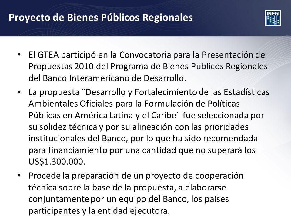 Proyecto de Bienes Públicos Regionales El GTEA participó en la Convocatoria para la Presentación de Propuestas 2010 del Programa de Bienes Públicos Regionales del Banco Interamericano de Desarrollo.