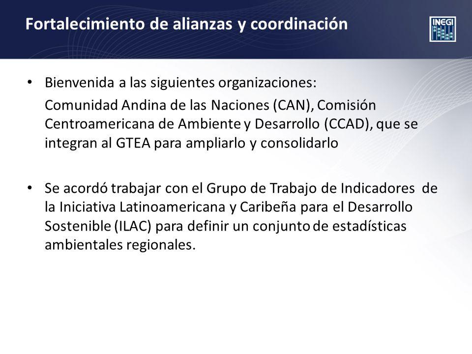 Fortalecimiento de alianzas y coordinación Bienvenida a las siguientes organizaciones: Comunidad Andina de las Naciones (CAN), Comisión Centroamerican