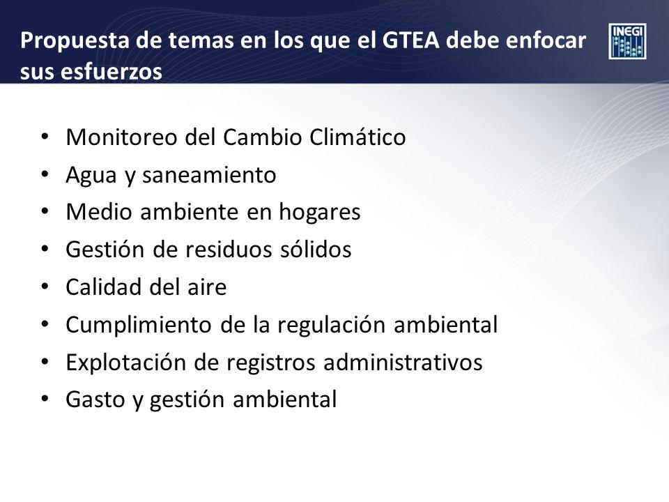 Propuesta de temas en los que el GTEA debe enfocar sus esfuerzos Monitoreo del Cambio Climático Agua y saneamiento Medio ambiente en hogares Gestión de residuos sólidos Calidad del aire Cumplimiento de la regulación ambiental Explotación de registros administrativos Gasto y gestión ambiental