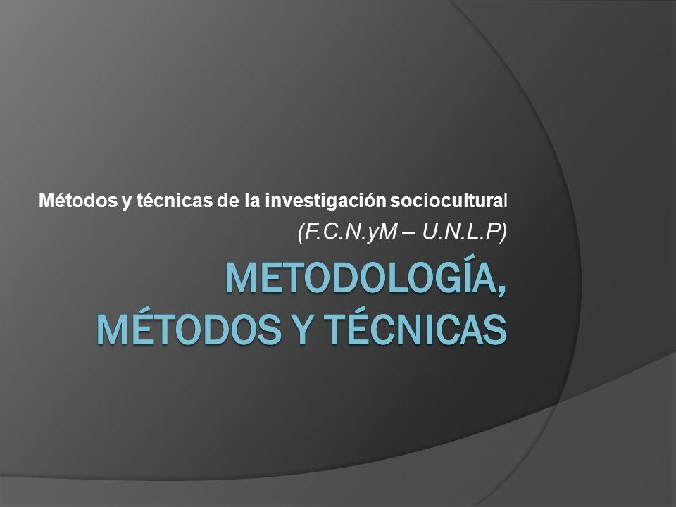 Métodos y técnicas de la investigación sociocultural (F.C.N.yM – U.N.L.P)