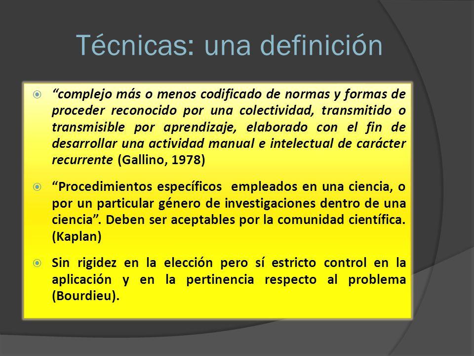 Técnicas: una definición complejo más o menos codificado de normas y formas de proceder reconocido por una colectividad, transmitido o transmisible po