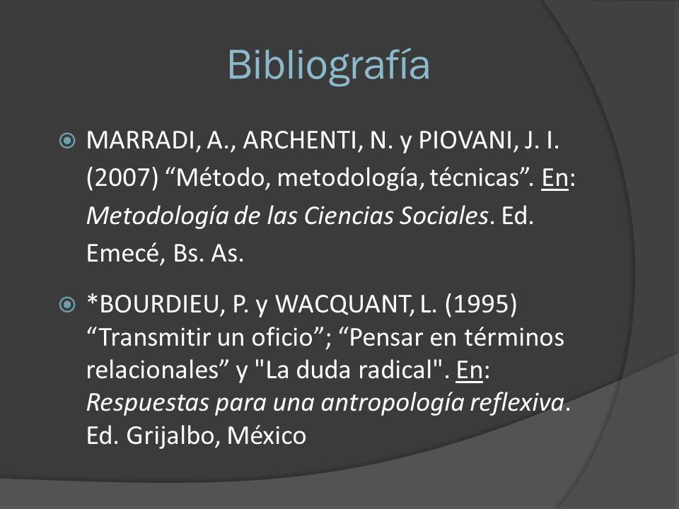 Bibliografía MARRADI, A., ARCHENTI, N. y PIOVANI, J. I. (2007) Método, metodología, técnicas. En: Metodología de las Ciencias Sociales. Ed. Emecé, Bs.