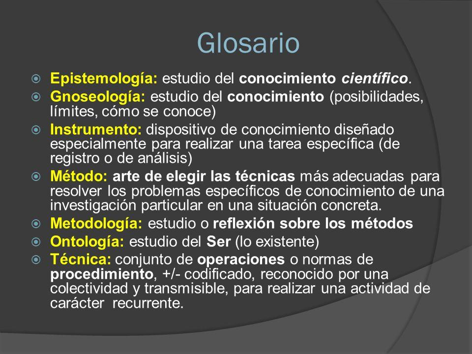 Glosario Epistemología: estudio del conocimiento científico. Gnoseología: estudio del conocimiento (posibilidades, límites, cómo se conoce) Instrument