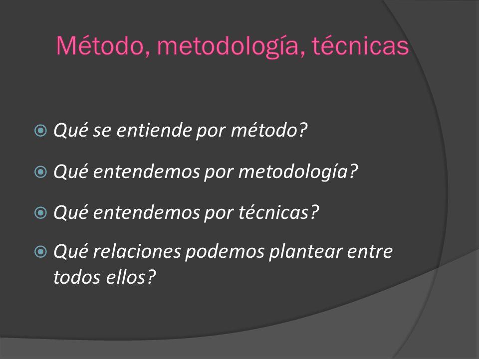 Qué se entiende por método? Qué entendemos por metodología? Qué entendemos por técnicas? Qué relaciones podemos plantear entre todos ellos?