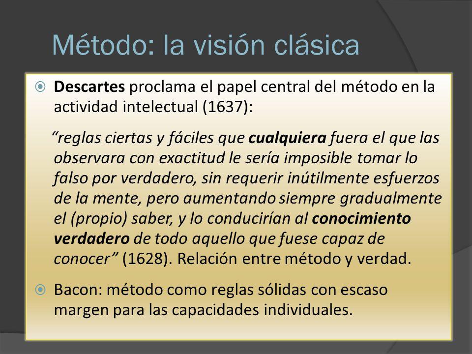 Método: la visión clásica Descartes proclama el papel central del método en la actividad intelectual (1637): reglas ciertas y fáciles que cualquiera f