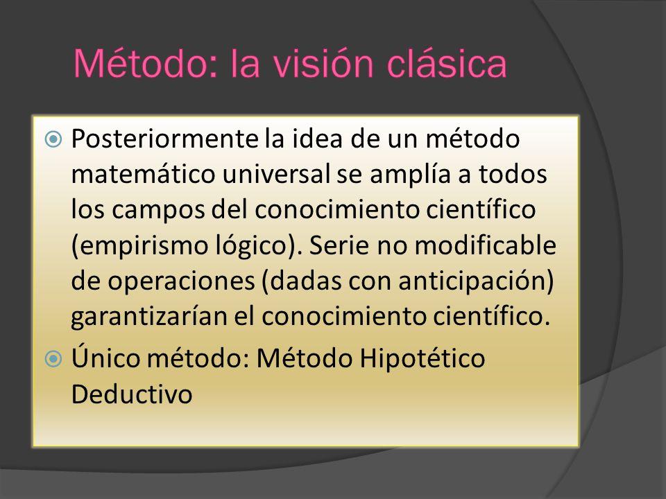Posteriormente la idea de un método matemático universal se amplía a todos los campos del conocimiento científico (empirismo lógico). Serie no modific