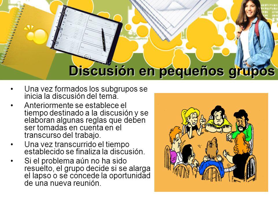 Discusión en pequeños grupos Una vez formados los subgrupos se inicia la discusión del tema. Anteriormente se establece el tiempo destinado a la discu