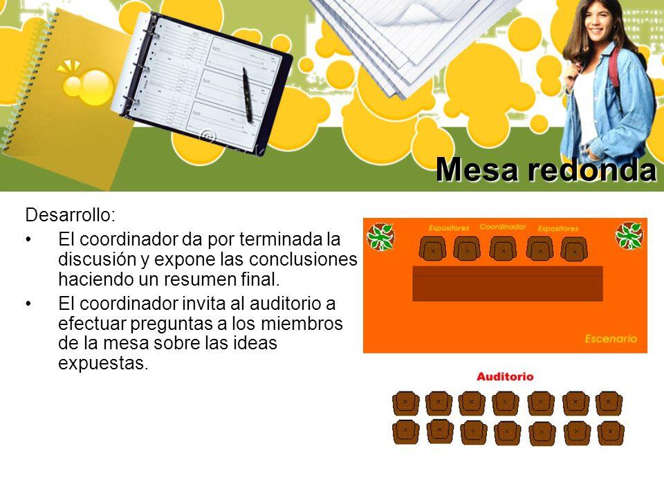Mesa redonda Desarrollo: El coordinador da por terminada la discusión y expone las conclusiones haciendo un resumen final. El coordinador invita al au