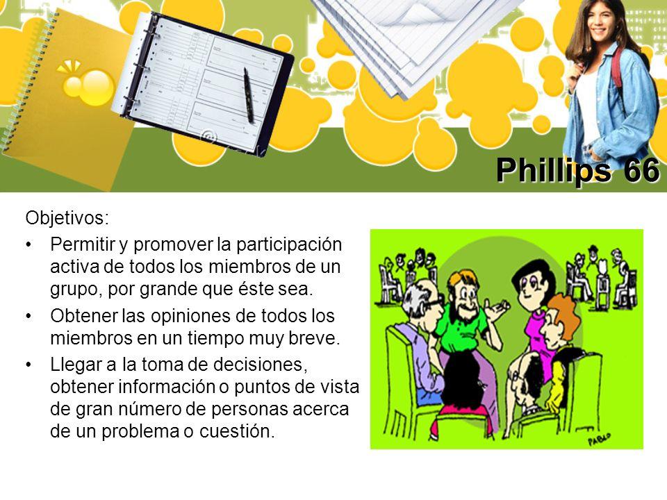 Phillips 66 Objetivos: Permitir y promover la participación activa de todos los miembros de un grupo, por grande que éste sea. Obtener las opiniones d