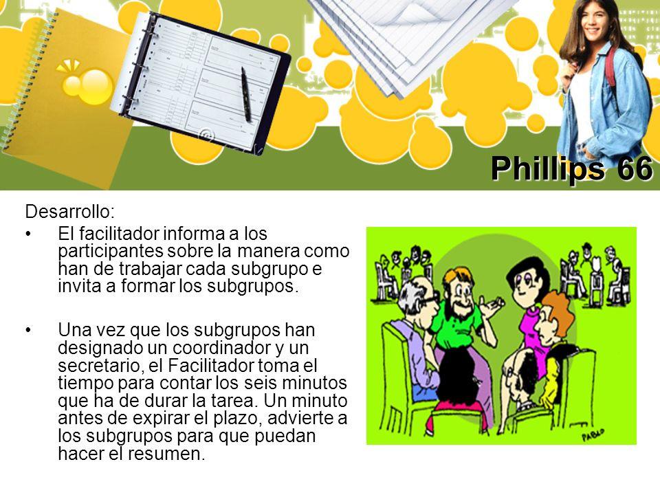 Phillips 66 Desarrollo: El facilitador informa a los participantes sobre la manera como han de trabajar cada subgrupo e invita a formar los subgrupos.