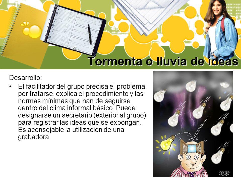 Tormenta o lluvia de ideas Desarrollo: El facilitador del grupo precisa el problema por tratarse, explica el procedimiento y las normas mínimas que ha