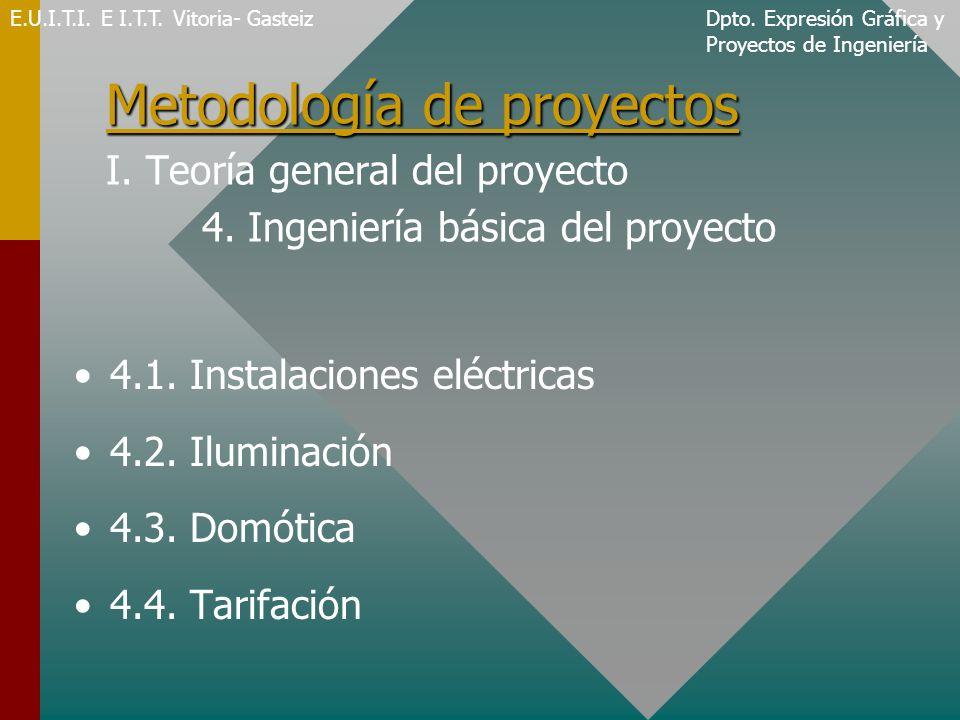 Metodología de proyectos Metodología de proyectos I. Teoría general del proyecto 4. Ingeniería básica del proyecto 4.1. Instalaciones eléctricas 4.2.