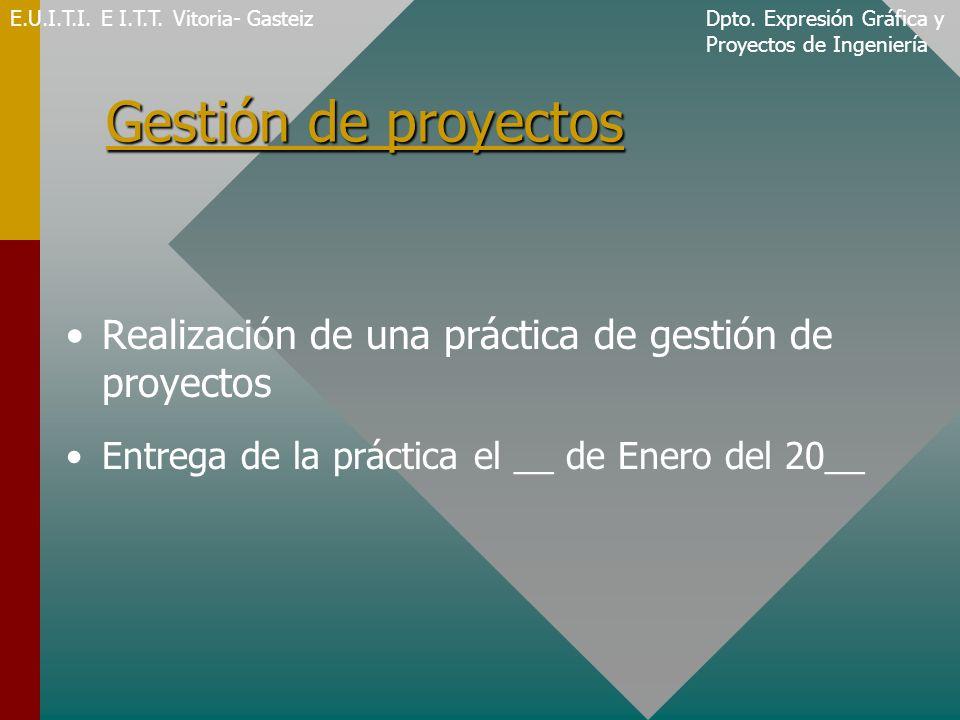 Gestión de proyectos Realización de una práctica de gestión de proyectos Entrega de la práctica el __ de Enero del 20__ E.U.I.T.I.