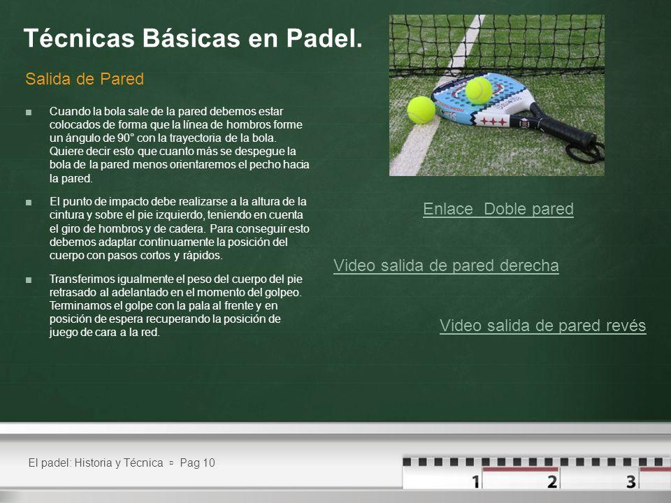 El padel: Historia y Técnica Pag 10 Técnicas Básicas en Padel. Cuando la bola sale de la pared debemos estar colocados de forma que la línea de hombro