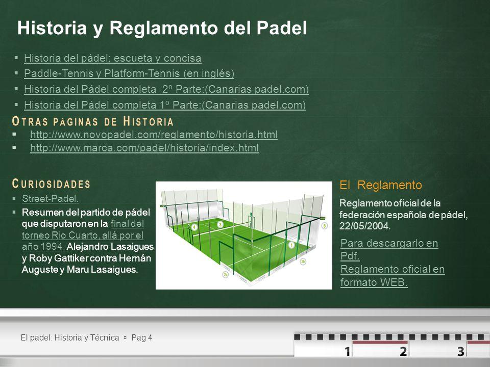 El padel: Historia y Técnica Pag 4 Historia y Reglamento del Padel C URIOSIDADES Street-Padel. Resumen del partido de pádel que disputaron en la final