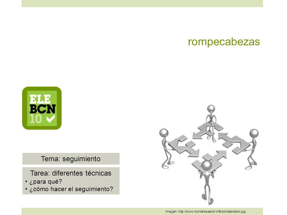 rompecabezas Imagen: http://www.mynetresearch.info/collaboration.jpg Tema: seguimiento Tarea: diferentes técnicas ¿para qué.