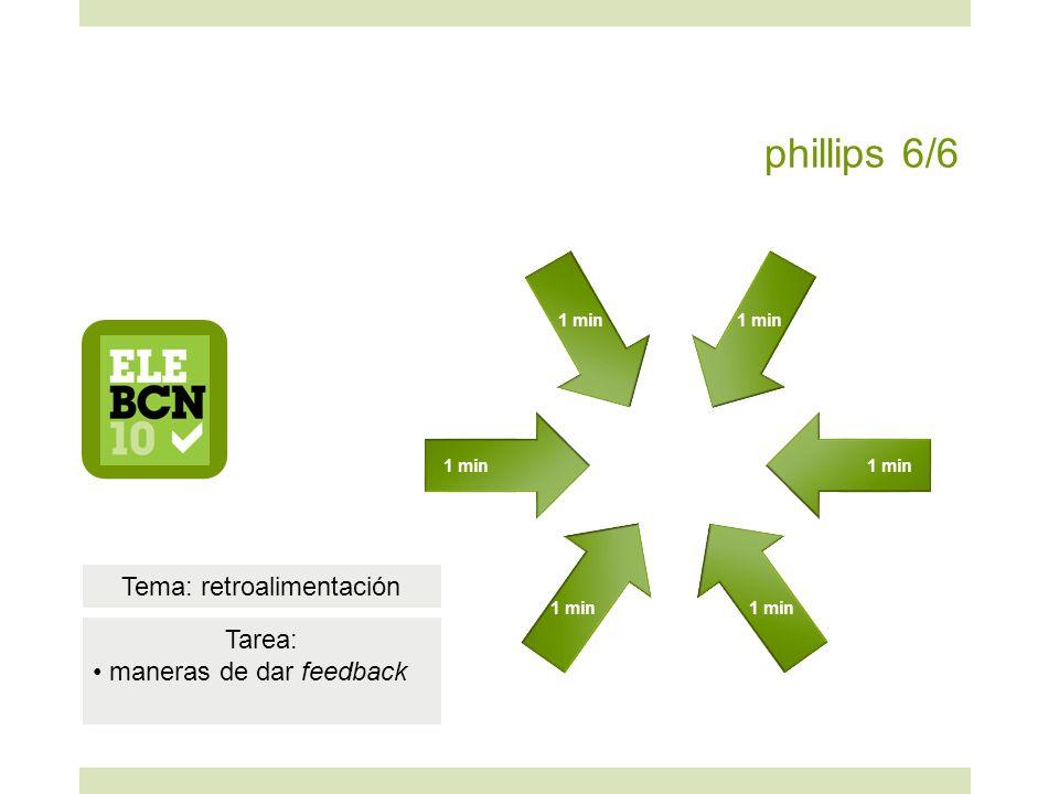phillips 6/6 1 min Tema: retroalimentación Tarea: maneras de dar feedback