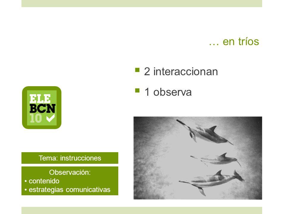 … en tríos 2 interaccionan 1 observa Tema: instrucciones Observación: contenido estrategias comunicativas