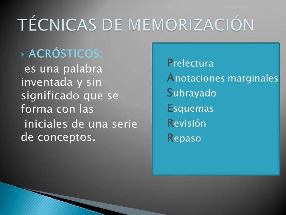 ACRÓSTICOS: es una palabra inventada y sin significado que se forma con las iniciales de una serie de conceptos.