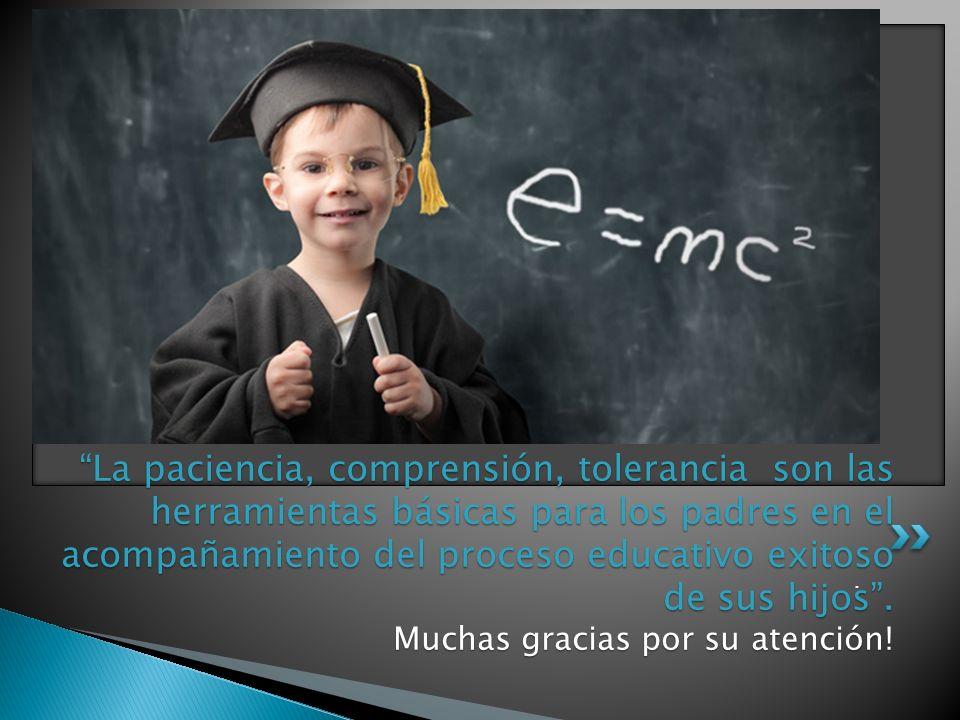 La paciencia, comprensión, tolerancia son las herramientas básicas para los padres en el acompañamiento del proceso educativo exitoso de sus hijos.