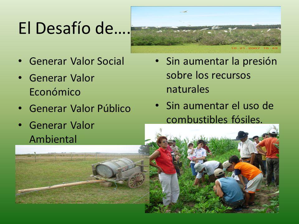 El Desafío de….. Generar Valor Social Generar Valor Económico Generar Valor Público Generar Valor Ambiental Sin aumentar la presión sobre los recursos