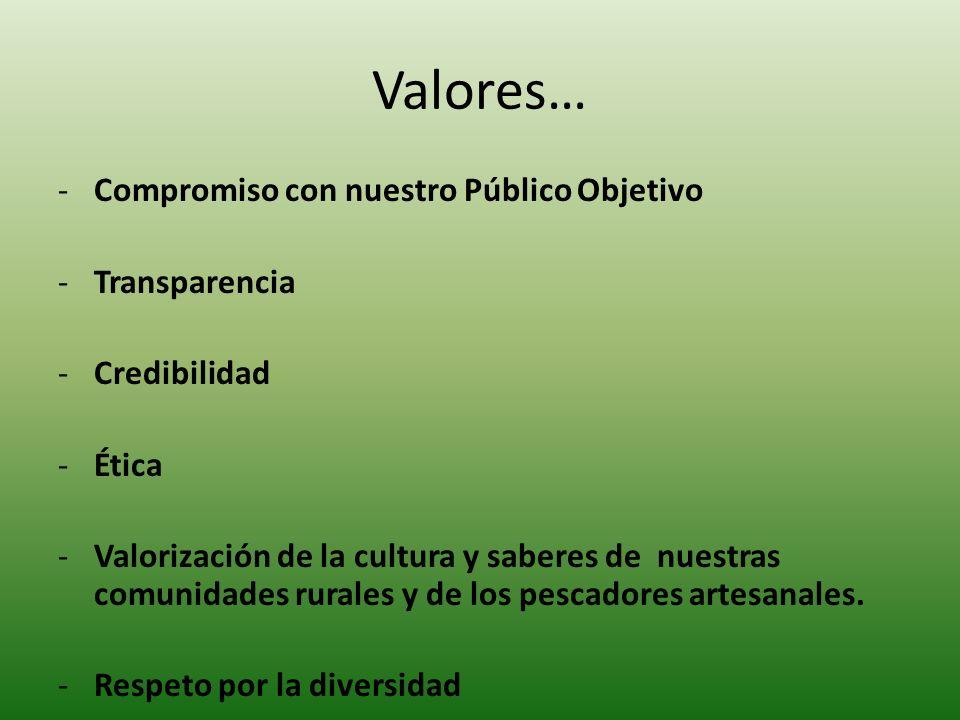 Valores… -Compromiso con nuestro Público Objetivo -Transparencia -Credibilidad -Ética -Valorización de la cultura y saberes de nuestras comunidades ru