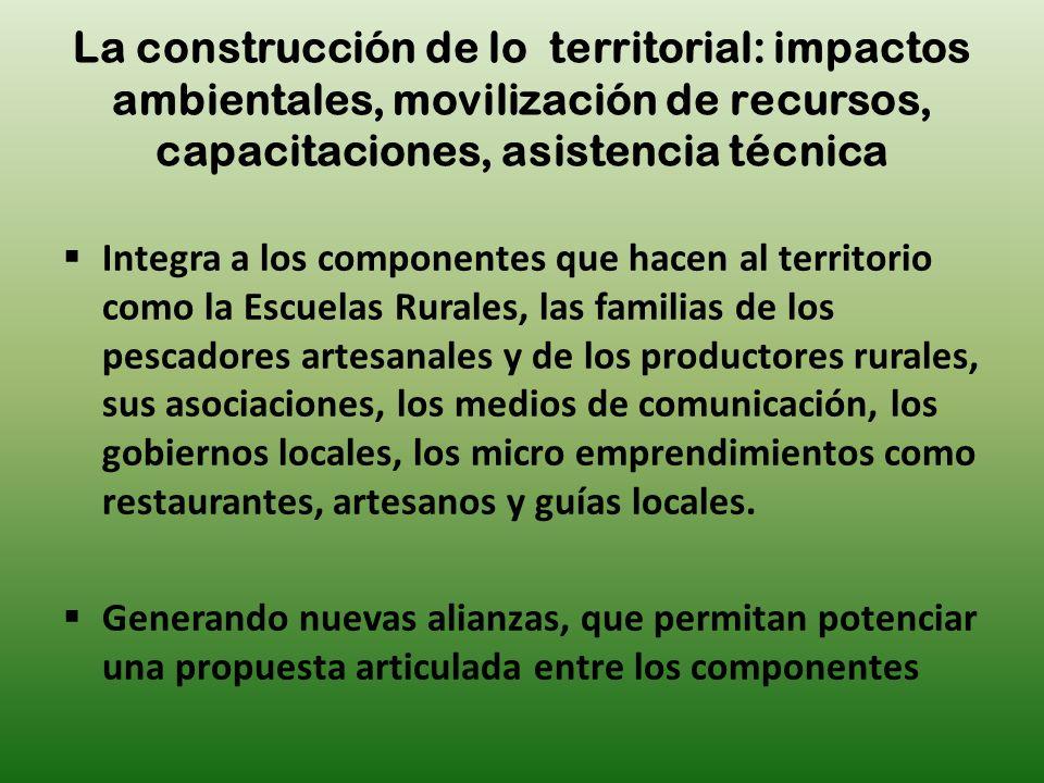 Integra a los componentes que hacen al territorio como la Escuelas Rurales, las familias de los pescadores artesanales y de los productores rurales, s
