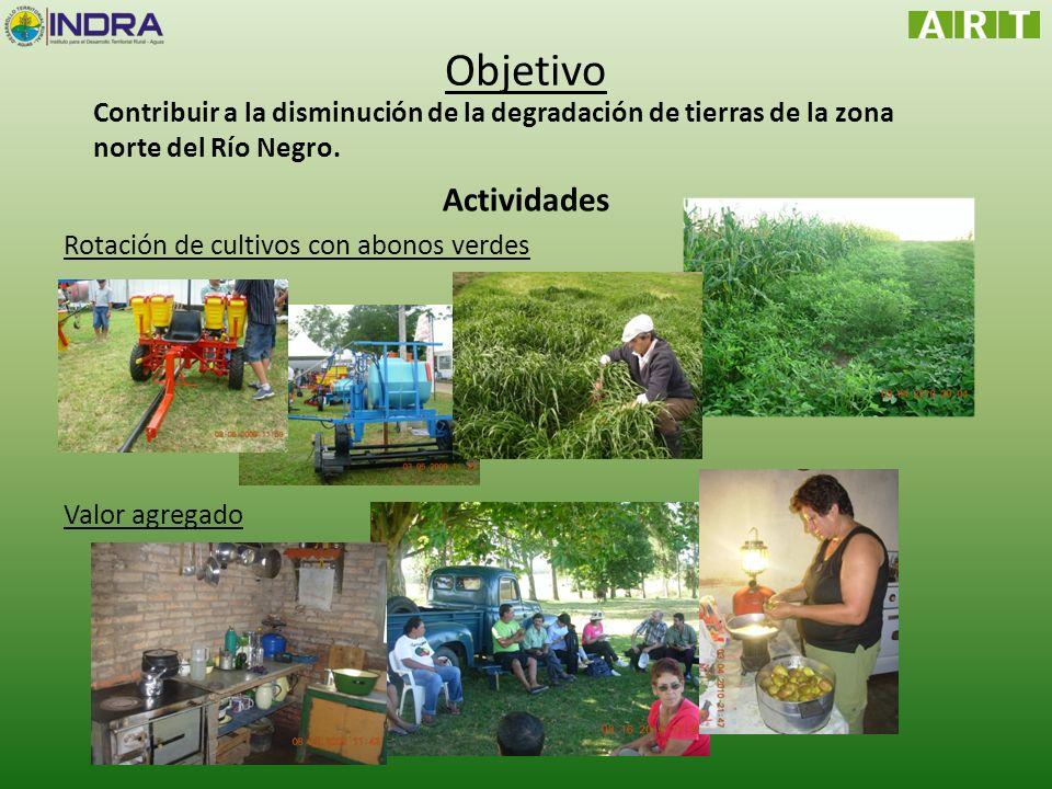 Objetivo Actividades Rotación de cultivos con abonos verdes Valor agregado Contribuir a la disminución de la degradación de tierras de la zona norte d