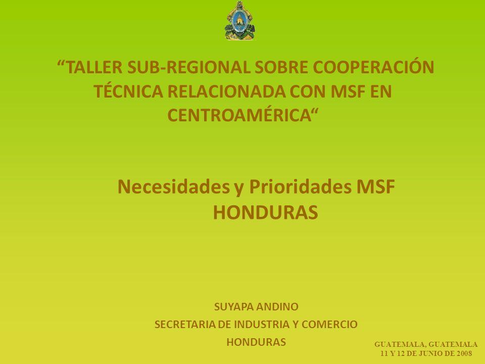 TALLER SUB-REGIONAL SOBRE COOPERACIÓN TÉCNICA RELACIONADA CON MSF EN CENTROAMÉRICA Necesidades y Prioridades MSF HONDURAS SUYAPA ANDINO SECRETARIA DE