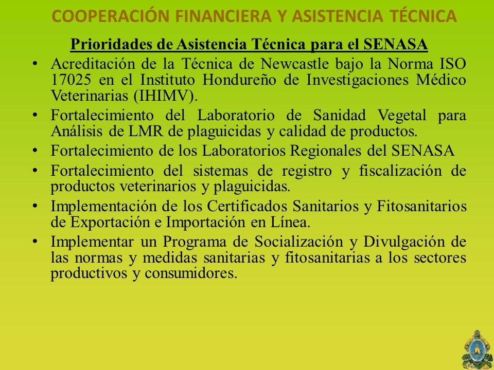 COOPERACIÓN FINANCIERA Y ASISTENCIA TÉCNICA Prioridades de Asistencia Técnica para el SENASA Acreditación de la Técnica de Newcastle bajo la Norma ISO