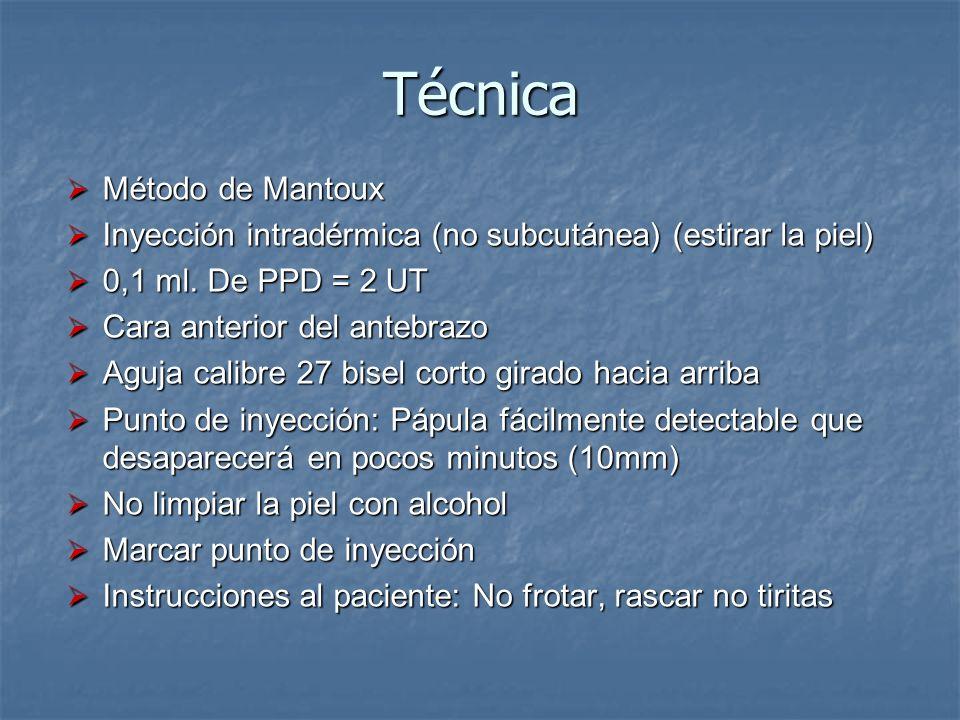 Técnica Método de Mantoux Método de Mantoux Inyección intradérmica (no subcutánea) (estirar la piel) Inyección intradérmica (no subcutánea) (estirar la piel) 0,1 ml.