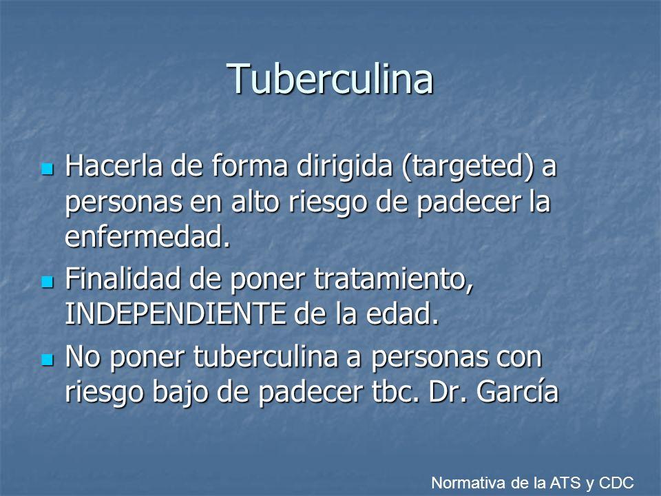 Tuberculina Hacerla de forma dirigida (targeted) a personas en alto riesgo de padecer la enfermedad.