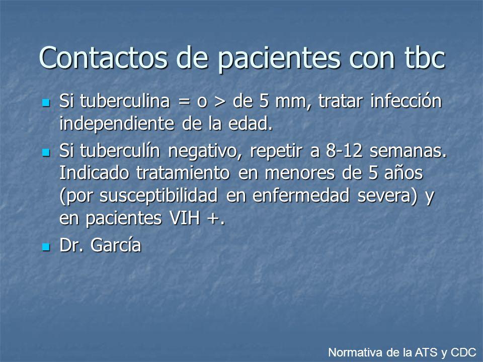 Contactos de pacientes con tbc Si tuberculina = o > de 5 mm, tratar infección independiente de la edad.