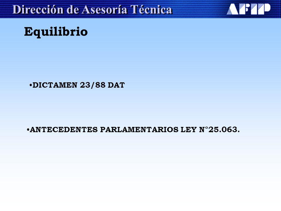 Dirección de Asesoría Técnica DICTAMEN 23/88 DAT ANTECEDENTES PARLAMENTARIOS LEY N°25.063. Equilibrio