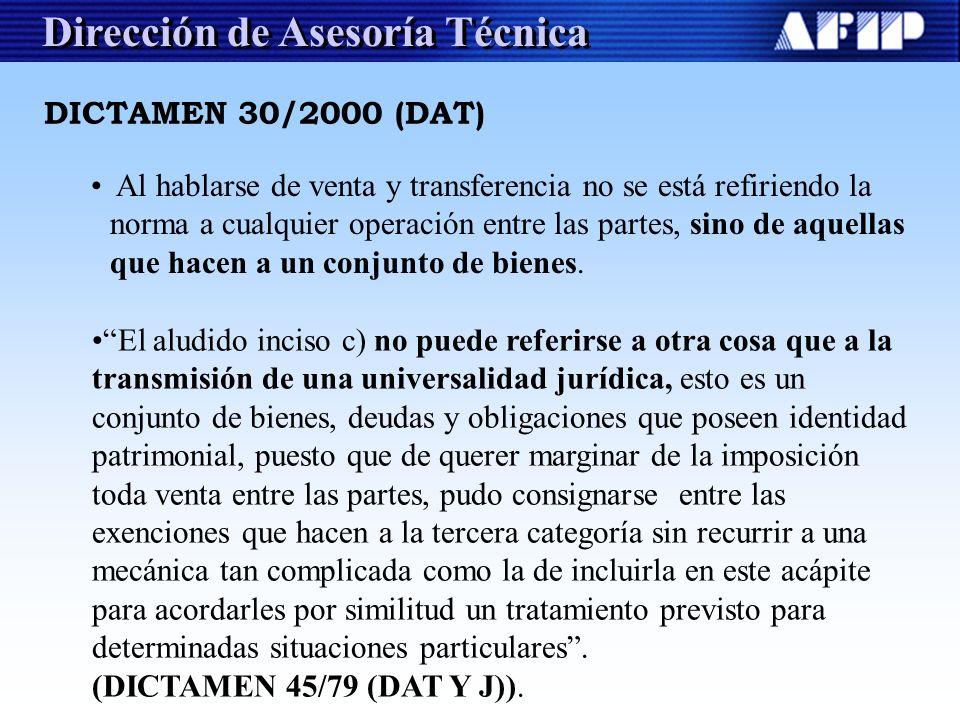 Dirección de Asesoría Técnica Al hablarse de venta y transferencia no se está refiriendo la norma a cualquier operación entre las partes, sino de aque
