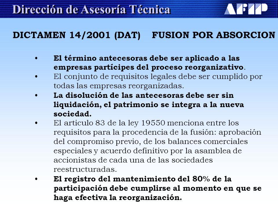 Dirección de Asesoría Técnica El término antecesoras debe ser aplicado a las empresas partícipes del proceso reorganizativo. El conjunto de requisitos