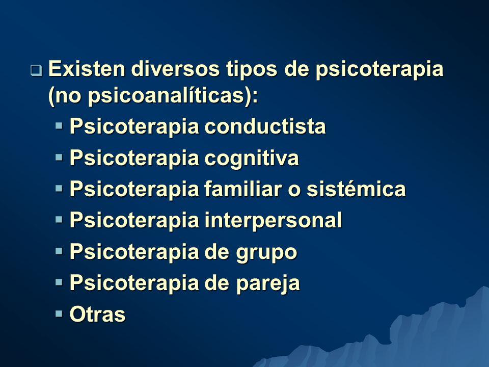 Existen diversos tipos de psicoterapia (no psicoanalíticas): Existen diversos tipos de psicoterapia (no psicoanalíticas): Psicoterapia conductista Psicoterapia conductista Psicoterapia cognitiva Psicoterapia cognitiva Psicoterapia familiar o sistémica Psicoterapia familiar o sistémica Psicoterapia interpersonal Psicoterapia interpersonal Psicoterapia de grupo Psicoterapia de grupo Psicoterapia de pareja Psicoterapia de pareja Otras Otras