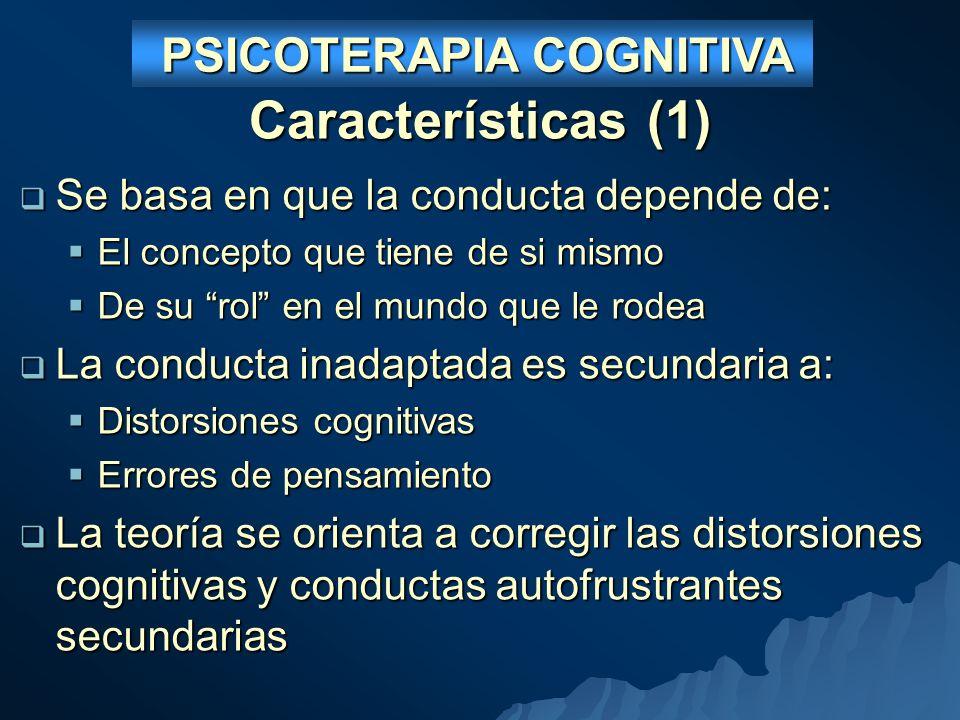 Características (1) Se basa en que la conducta depende de: Se basa en que la conducta depende de: El concepto que tiene de si mismo El concepto que tiene de si mismo De su rol en el mundo que le rodea De su rol en el mundo que le rodea La conducta inadaptada es secundaria a: La conducta inadaptada es secundaria a: Distorsiones cognitivas Distorsiones cognitivas Errores de pensamiento Errores de pensamiento La teoría se orienta a corregir las distorsiones cognitivas y conductas autofrustrantes secundarias La teoría se orienta a corregir las distorsiones cognitivas y conductas autofrustrantes secundarias PSICOTERAPIA COGNITIVA PSICOTERAPIA COGNITIVA