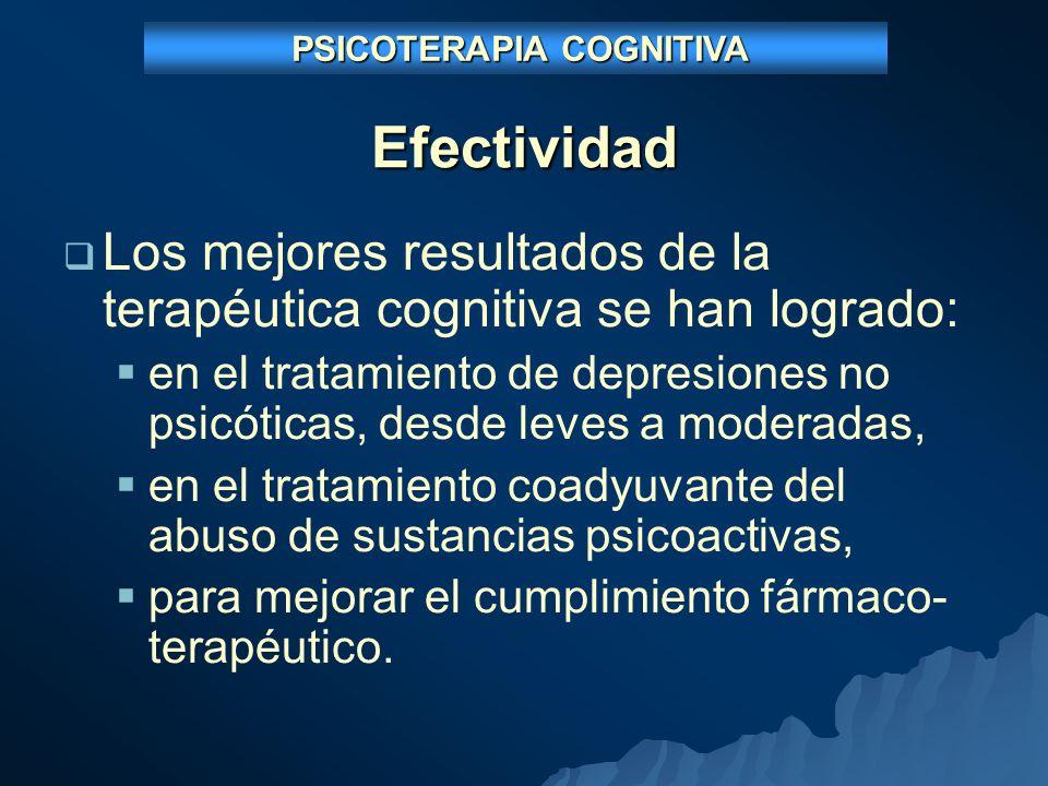 Efectividad Los mejores resultados de la terapéutica cognitiva se han logrado: en el tratamiento de depresiones no psicóticas, desde leves a moderadas, en el tratamiento coadyuvante del abuso de sustancias psicoactivas, para mejorar el cumplimiento fármaco- terapéutico.