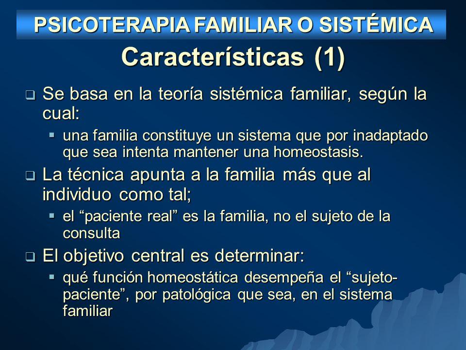 Características (1) Se basa en la teoría sistémica familiar, según la cual: Se basa en la teoría sistémica familiar, según la cual: una familia constituye un sistema que por inadaptado que sea intenta mantener una homeostasis.