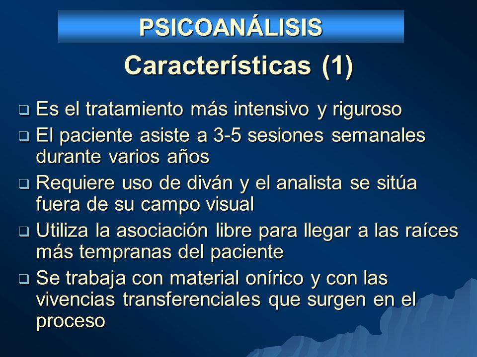 PSICOANÁLISIS Y PSICOTERAPIA PSICOANALÍTICA Psicoterapia psicoanalítica CaracterísticasPsicoanálisis Introspectiva (expresiva) De apoyo (de relación) Elementos coadyuvantes Diván.